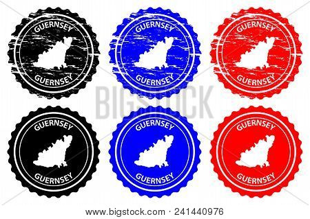 Guernsey - Rubber Stamp - Vector, Bailiwick Of Guernsey Map Pattern - Sticker - Black, Blue And Red