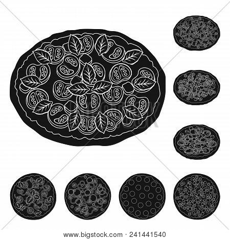 Different Pizza Black Icons In Set Collection For Design.pizza Food Vector Symbol Stock  Illustratio