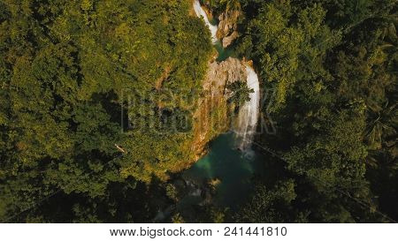 Beautiful Waterfall In Green Forest In Jungle, Cebu. Aerial View:tropical Rain Forest With Waterfall