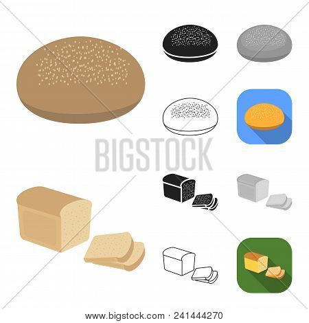 Types Of Bread Cartoon, Black, Flat, Monochrome, Outline Icons In Set Collection For Design. Bakery