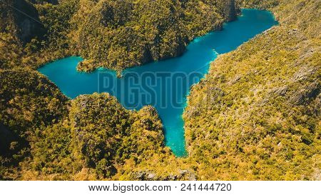 Aerial View:mountain Kayangan Lake, On A Tropical Island With Blue Water. Lake In The Mountains Cove