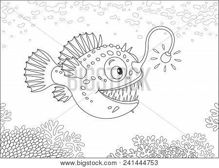 Anglerfish Hunting Deep In A Sea, Black And White Vector Illustration In A Cartoon Style For A Color
