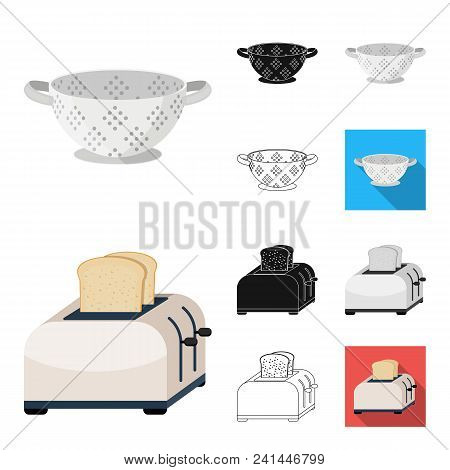 Kitchen Equipment Cartoon, Black, Flat, Monochrome, Outline Icons In Set Collection For Design. Kitc