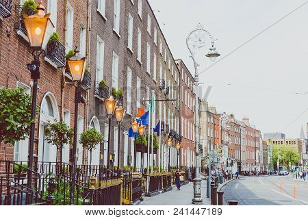 Dublin, Ireland - May 20th, 2018: Dublin City Centre Featuring Georgian Building In Harcourt Street