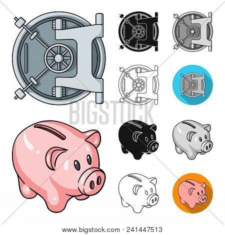 Money And Finance Cartoon, Black, Flat, Monochrome, Outline Icons In Set Collection For Design. Busi