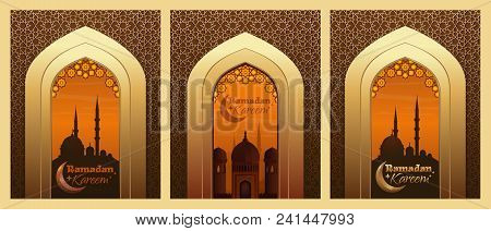 Collection Of Greeting Cards For Ramadan. Islamic Design With Mosque And Traditional Islamic Greetin
