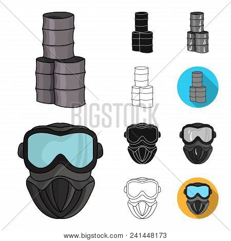 Paintball, Team Game Cartoon, Black, Flat, Monochrome, Outline Icons In Set Collection For Design. E