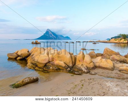 Beach View Of Coastal Sardinia With View Of Isola Tavolara