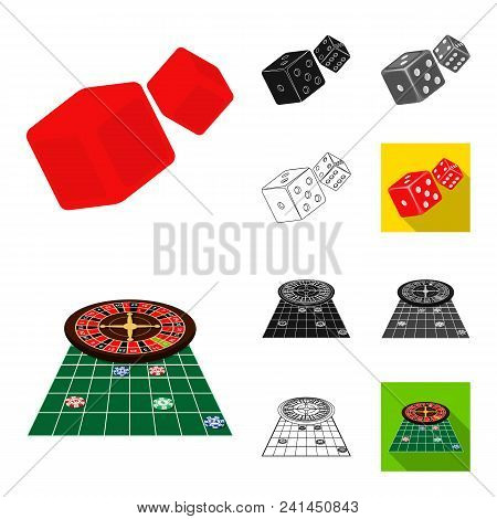 Casino And Equipment Cartoon, Black, Flat, Monochrome, Outline Icons In Set Collection For Design. G