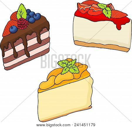 Vector Illustration Of Various Cakes And Pastries Isolated On White.