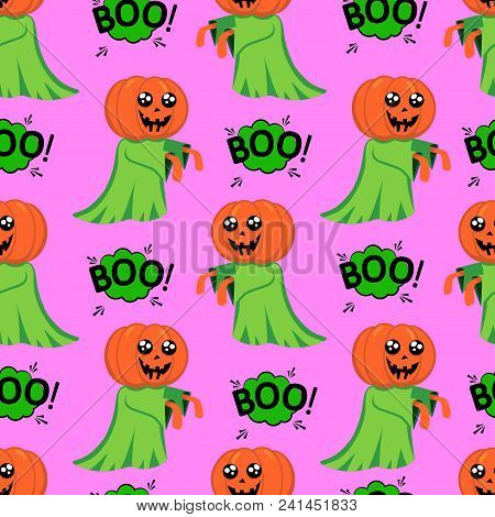 Abstract Seamless Halloween Pattern For Girls Or Boys. Creative Vector Background With A Pretty Ghos
