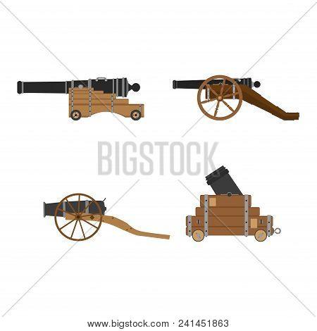 Medieval Artillery Cannon Set Vector Flat Illustration Design Concept. Castle Defense Weapon.