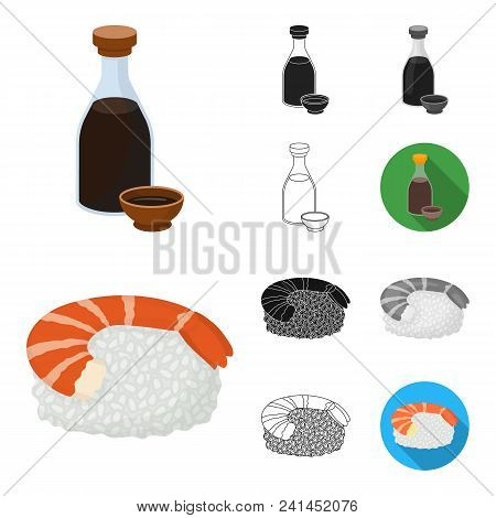 Sushi And Seasoning Cartoon, Black, Flat, Monochrome, Outline Icons In Set Collection For Design. Se