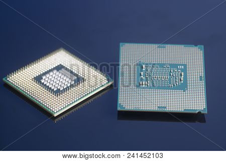 Central Processing Unit Cpu Processors Microchip On Black Background