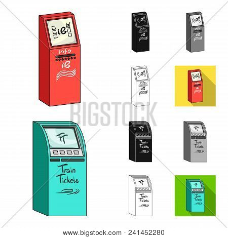 Variety Of Terminals Cartoon, Black, Flat, Monochrome, Outline Icons In Set Collection For Design. A