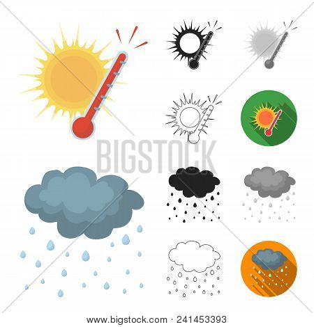 Different Weather Cartoon, Black, Flat, Monochrome, Outline Icons In Set Collection For Design.signs