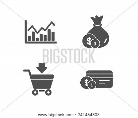 Set Of Infochart, Cash And Online Market Icons. Payment Method Sign. Stock Exchange, Banking Currenc