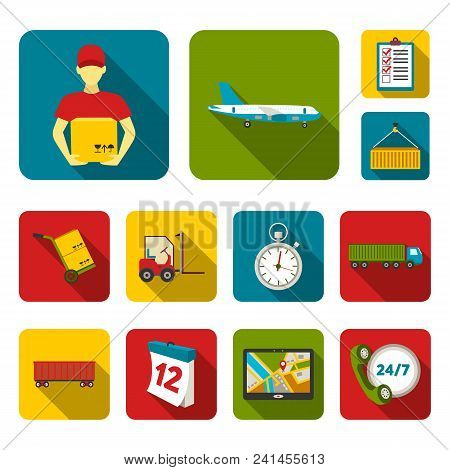 Logistics Service Flat Icons In Set Collection For Design. Logistics And Equipment Vector Symbol Sto