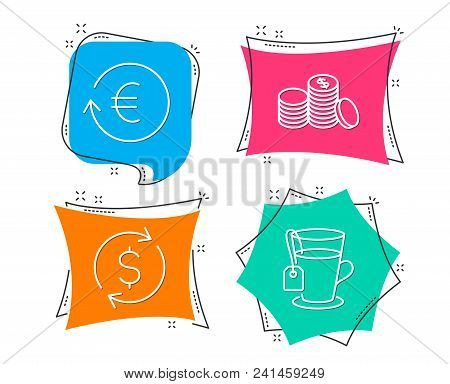 Set Of Dollar Exchange, Exchange Currency And Banking Money Icons. Tea Sign. Banking Rates, Cash Fin