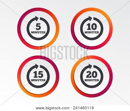 Every 5, 10, 15 And 20 Minutes Icons. Full Rotation Arrow Symbols. Iterative Process Signs. Infograp