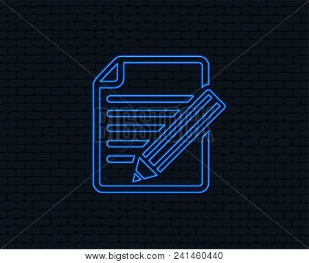 Neon Light. Edit Document Sign Icon. Edit Content Button. Glowing Graphic Design. Brick Wall. Vector