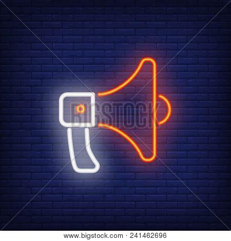 Loudspeaker Neon Sign Element. Night Bright Advertisement. Vector Illustration For Breaking News, Pr