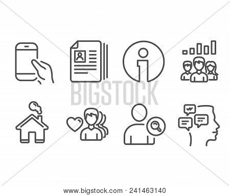 Set Of Man Love, Find User And Cv Documents Icons. Teamwork Results, Hold Smartphone And Messages Si