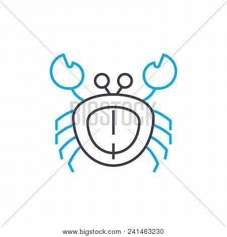 Crab Line Icon, Vector Illustration. Crab Linear Concept Sign.