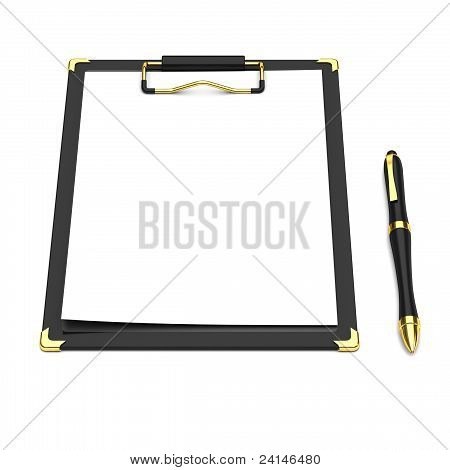 Pen, clipboard and a white paper