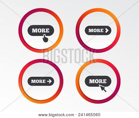 More With Cursor Pointer Icon. Details With Arrow Or Hand Symbols. Click More Sign. Infographic Desi