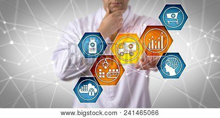 Unrecognizable Pharmaceutical Research Scientist Managing Prescription Drug Supply Chain Via Touch S