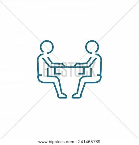 Discussion Of Cooperation Line Icon, Vector Illustration. Discussion Of Cooperation Linear Concept S