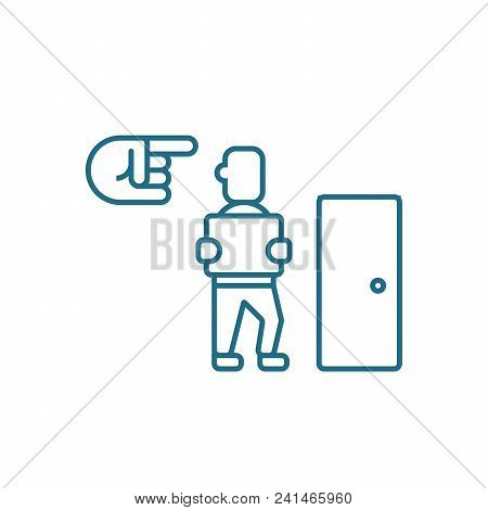 Dismissal Of An Employee Line Icon, Vector Illustration. Dismissal Of An Employee Linear Concept Sig