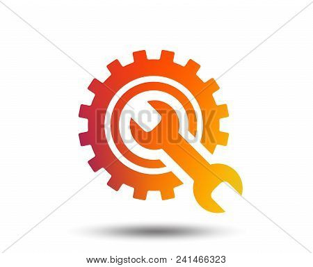 Repair Tool Sign Icon. Service Symbol. Hammer With Wrench. Blurred Gradient Design Element. Vivid Gr