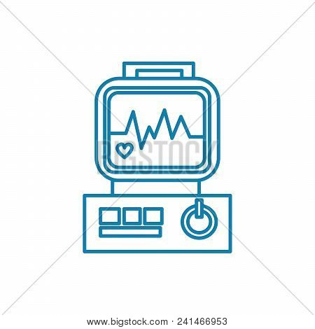Ecg Examination Line Icon, Vector Illustration. Ecg Examination Linear Concept Sign.