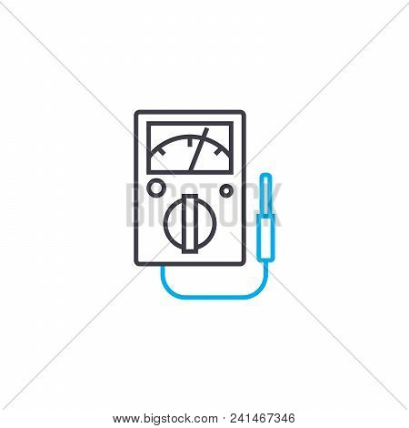 Electric System Monitoring Line Icon, Vector Illustration. Electric System Monitoring Linear Concept