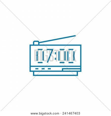 Electronic Alarm Clock Line Icon, Vector Illustration. Electronic Alarm Clock Linear Concept Sign.