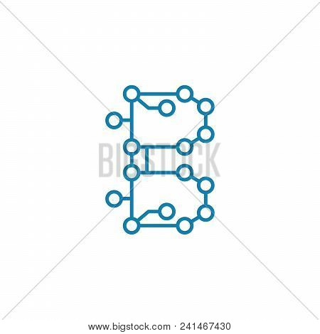 Electronic Circuit Line Icon, Vector Illustration. Electronic Circuit Linear Concept Sign.