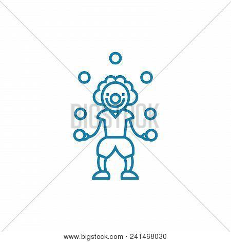 Entertaining Children Line Icon, Vector Illustration. Entertaining Children Linear Concept Sign.