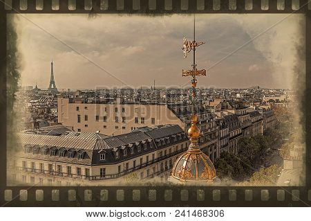 Old Photo With Aerial View From The Terrace Of Store Printemps In Paris. Border Filter Applied And V