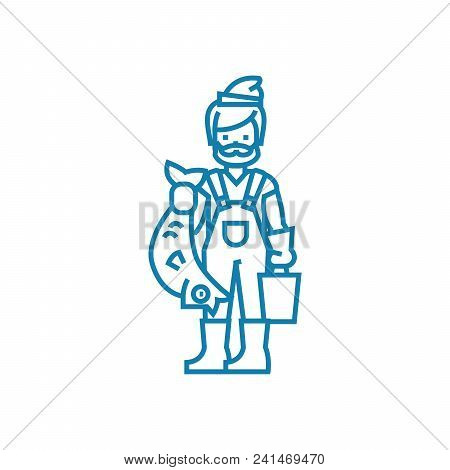 Fisherman With Catch Line Icon, Vector Illustration. Fisherman With Catch Linear Concept Sign.