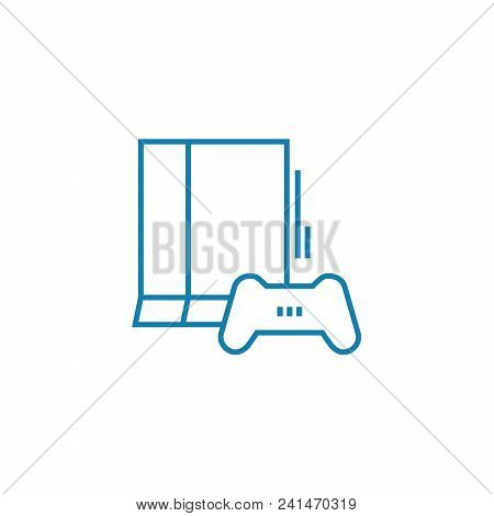 Game Console Line Icon, Vector Illustration. Game Console Linear Concept Sign.