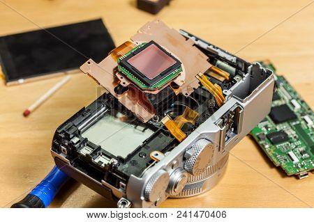 Camera Inside, Parts Of Sensor Matrix Close Up. Fixing Technology Modern Device.