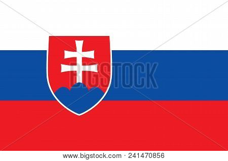 Slovak National Flag. Official Flag Of Slovakia, Accurate Colors, True Color