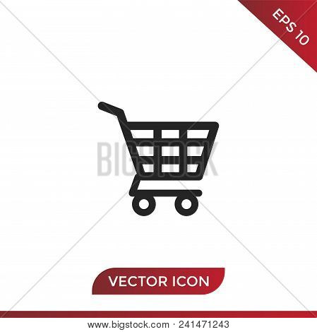 Shopping Cart Vector Icon Flat Style Illustration For Web, Mobile, Logo, Application And Graphic Des