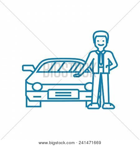 Going In For Motoring Line Icon, Vector Illustration. Going In For Motoring Linear Concept Sign.
