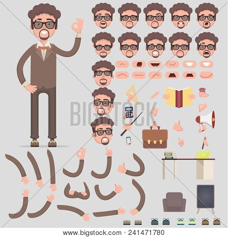 Creation Of The Manager's Character With Different Kinds, Emotions Of The Person, Poses And Gestures
