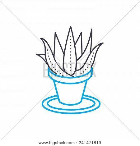 Growing Of Houseplants Line Icon, Vector Illustration. Growing Of Houseplants Linear Concept Sign.
