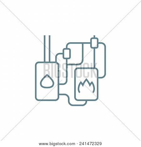 Heating System Line Icon, Vector Illustration. Heating System Linear Concept Sign.