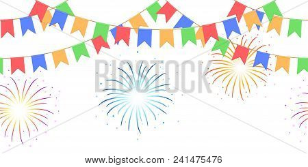 Seamless Garland With Celebration Flag Chain, Yellow, Blue, Red, Green Pennons And Salute On White B